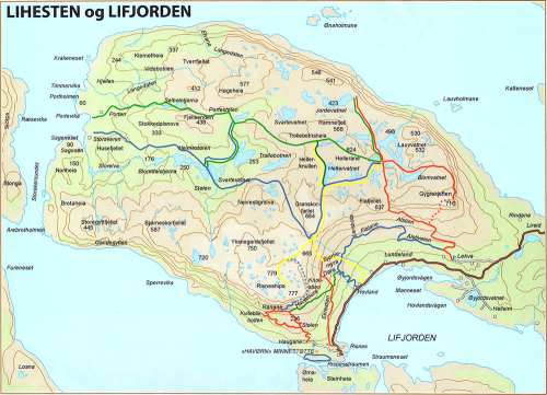 Map over Lihesten og Lifjorden.